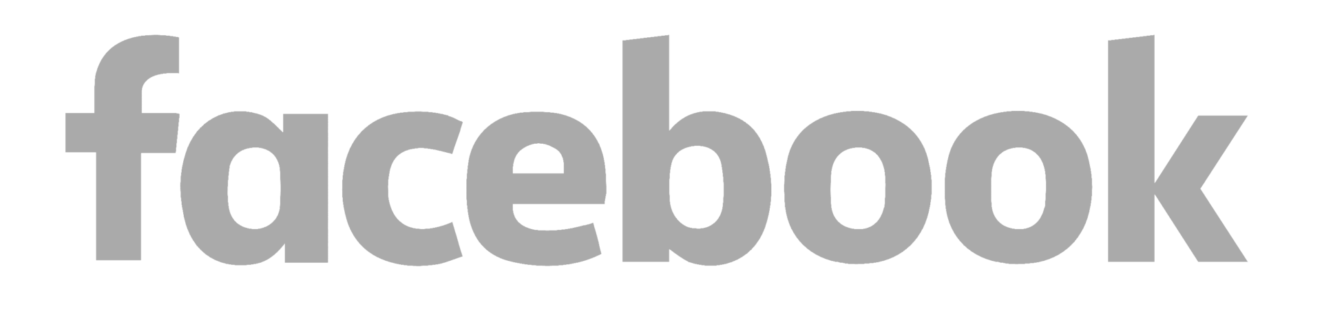Facebook logotype in a gray font color