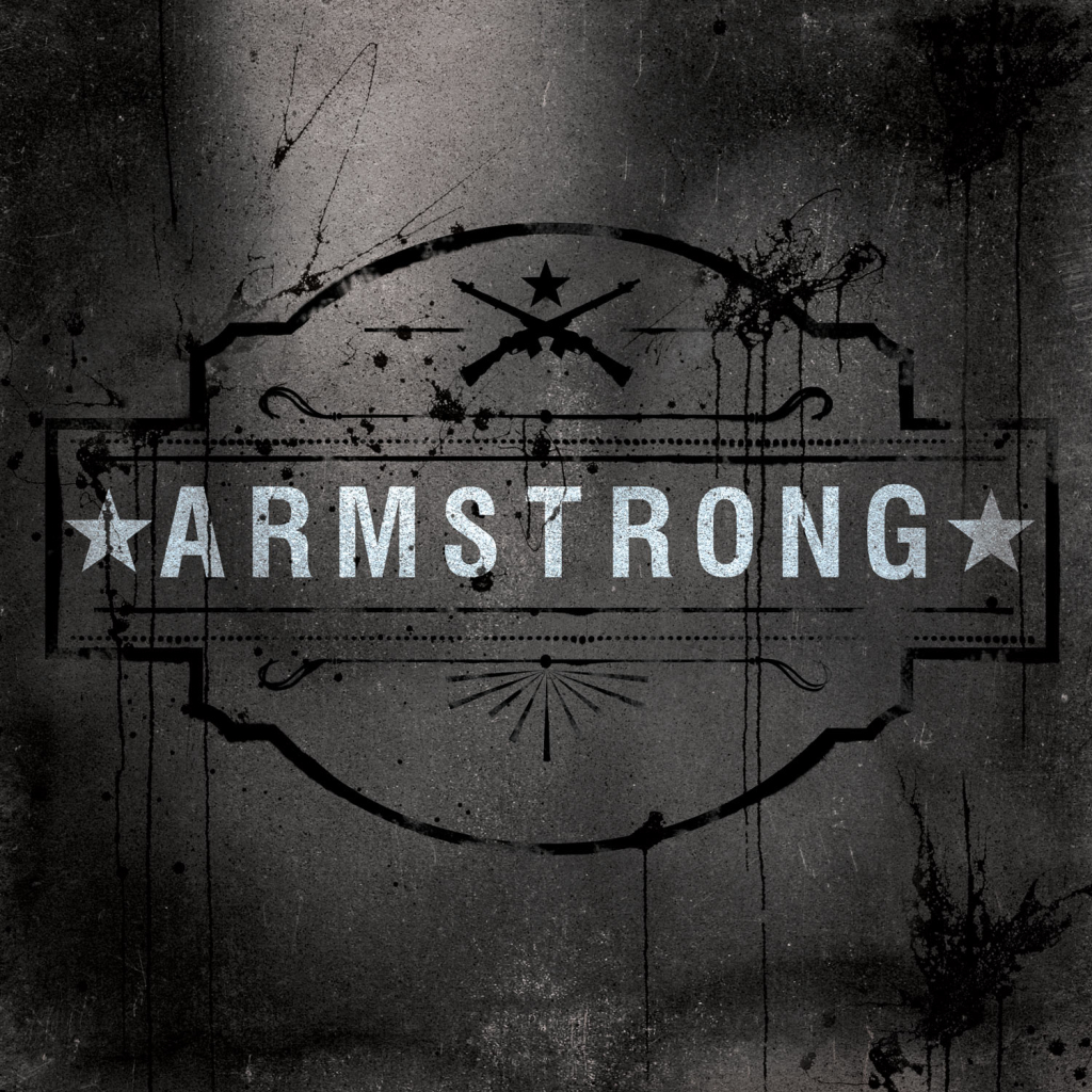 """Gray, grungy background with splats of black paint and the word """"Armstrong"""" between two dirty white star symbols"""