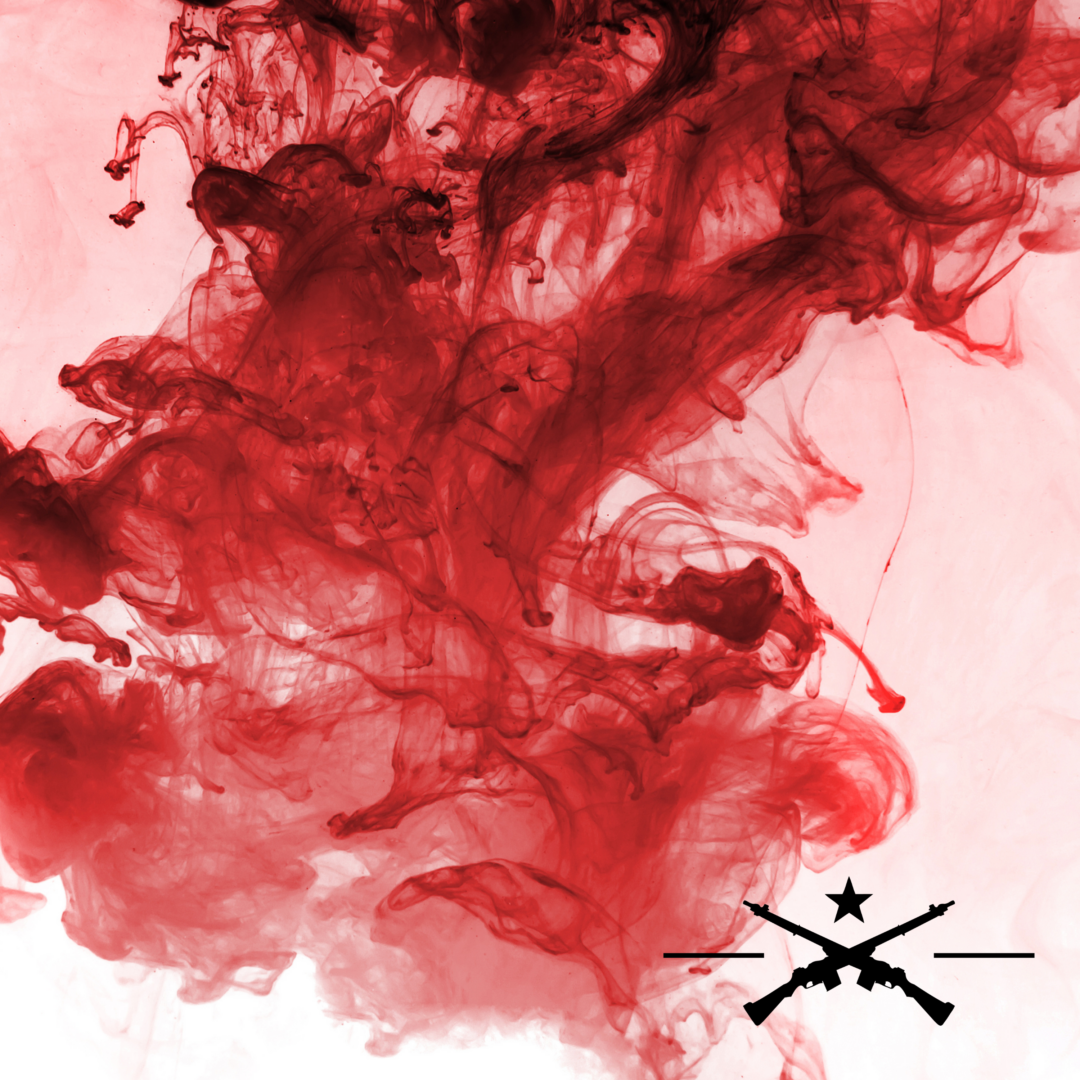 Cloud of blood-colored smoke with a symbol of two riffles crossing below a black star in the bottom right corner
