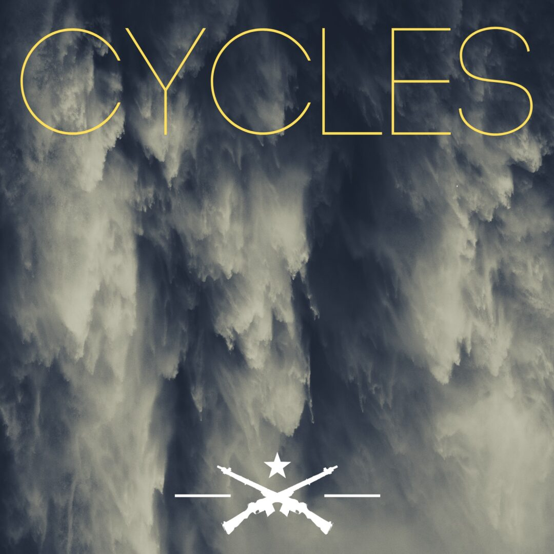 """Rushing water with the word """"Cycles"""" in yellow text on top and a symbol of two riffles crossing below a white star"""